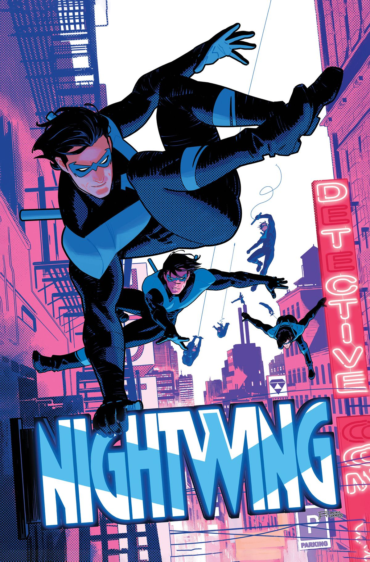 Nightwing vaults through the air over a cityscape on the cover of Nightwing #87 (2021).