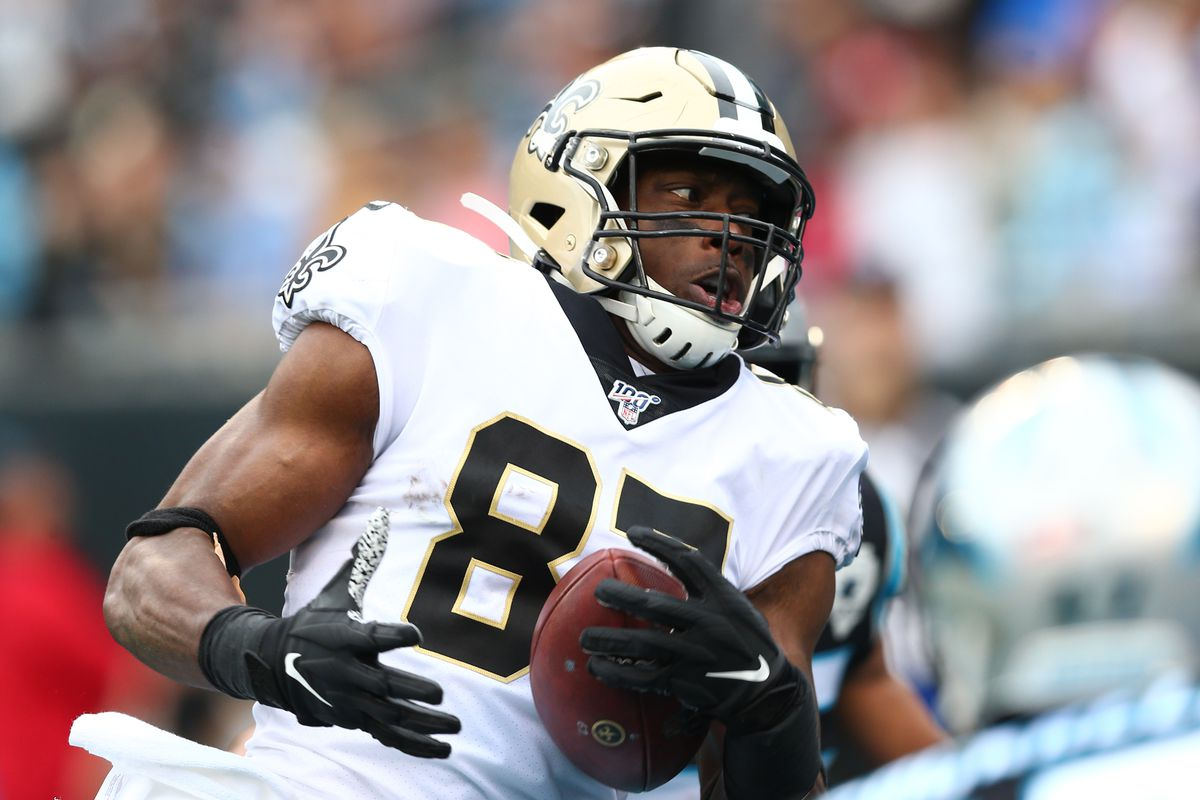 New Orleans Saints tight end Jared Cook catches a pass for a touchdown in the second quarter against the Carolina Panthers at Bank of America Stadium.