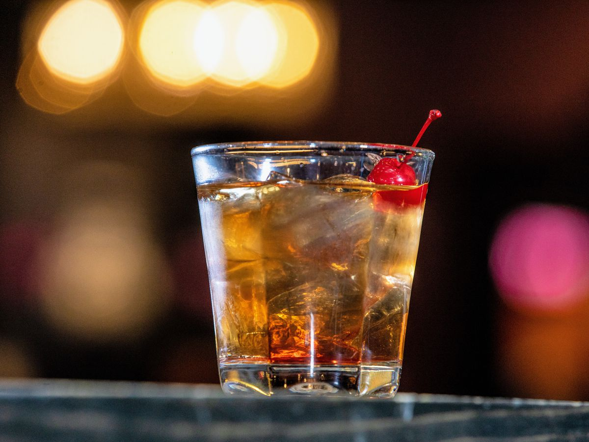bourbon cocktail with cherry