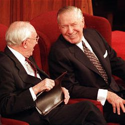 Sunday Afternoon conference April 6, 1997--President Hinckley and President Faust share a moment before the afternoon session begins.