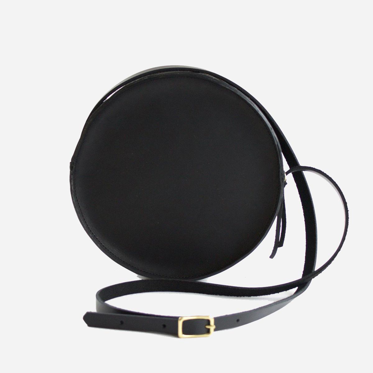 A circlular black bag