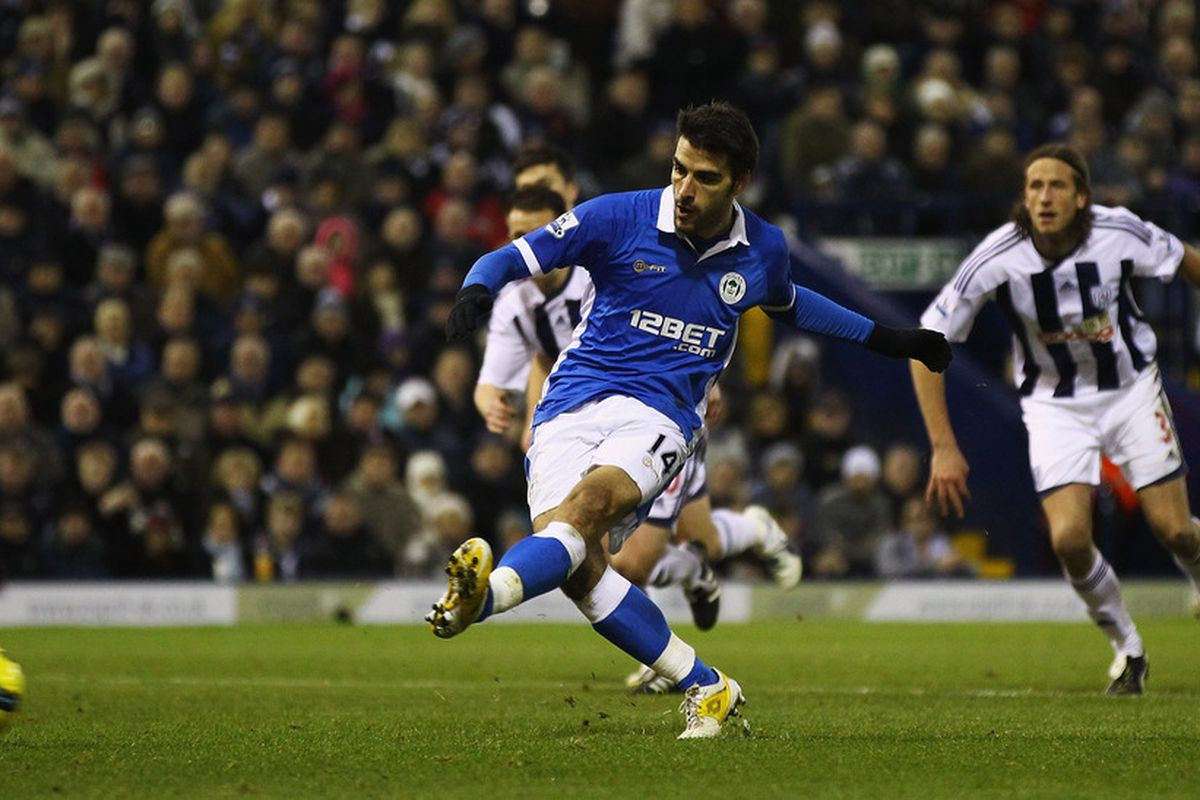 Jordi Gomez of Wigan scores from the penalty spot during the Barclays Premier League match between West Bromwich Albion and Wigan Athletic.