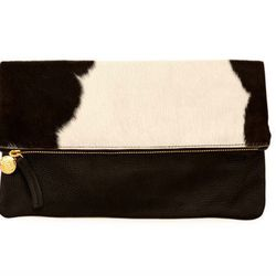 """Clare Vivier's foldover classic in statement-making black-and-white. Clare Vivier <a href=""""http://www.clarevivier.com/products/foldover-clutch"""">foldover clutch</a>, $210."""