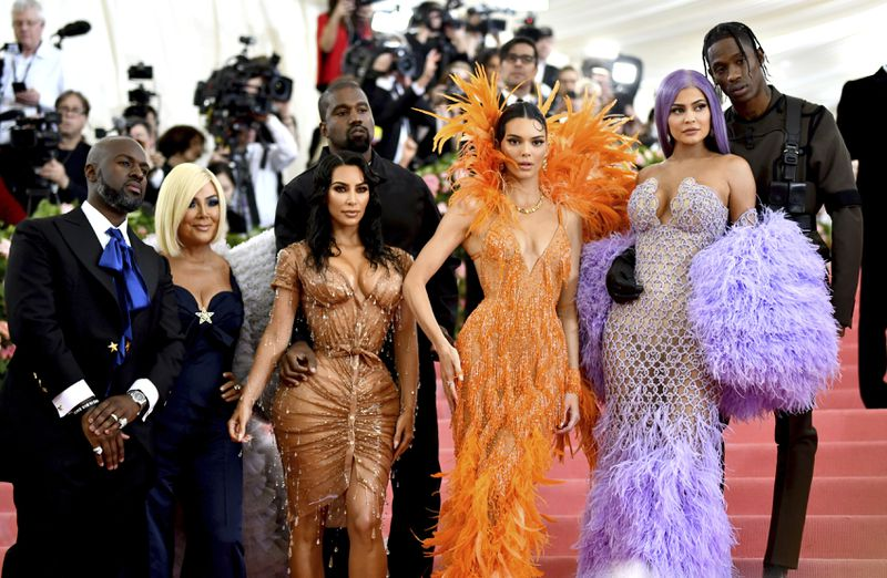 Corey Gamble (from left), Kris Jenner, Kim Kardashian, Kanye West, Kendall Jenner, Kylie Jenner and Travis Scott attend The Metropolitan Museum of Art's Costume Institute benefit gala in New York on May 6, 2019.