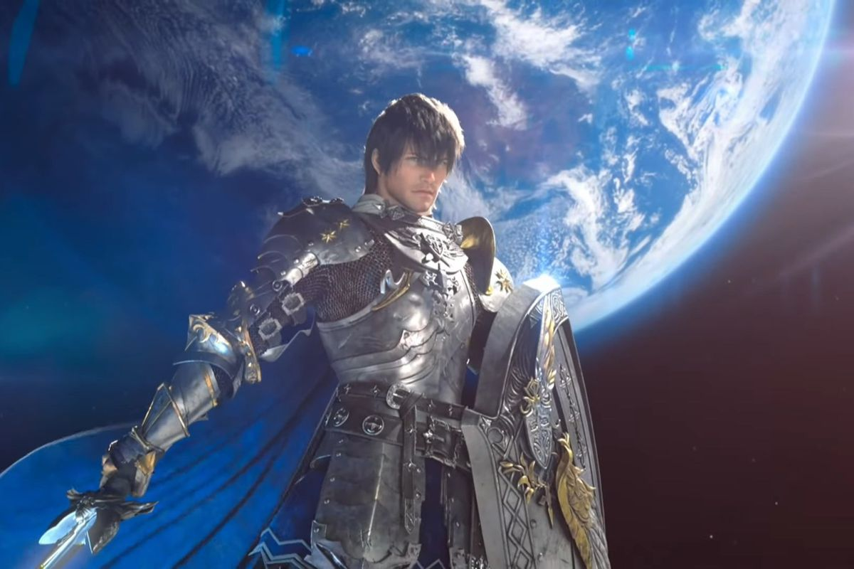 The Warrior of Light stands in Paladin armor on the moon