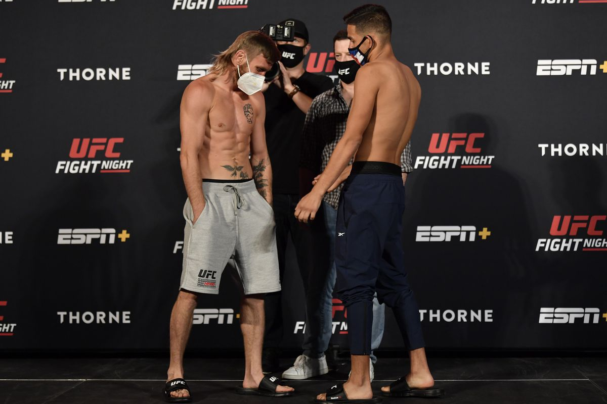 Opponents Tim Elliot and Brandon Royval face off during the UFC weigh-in at UFC APEX on May 29, 2020 in Las Vegas, Nevada.
