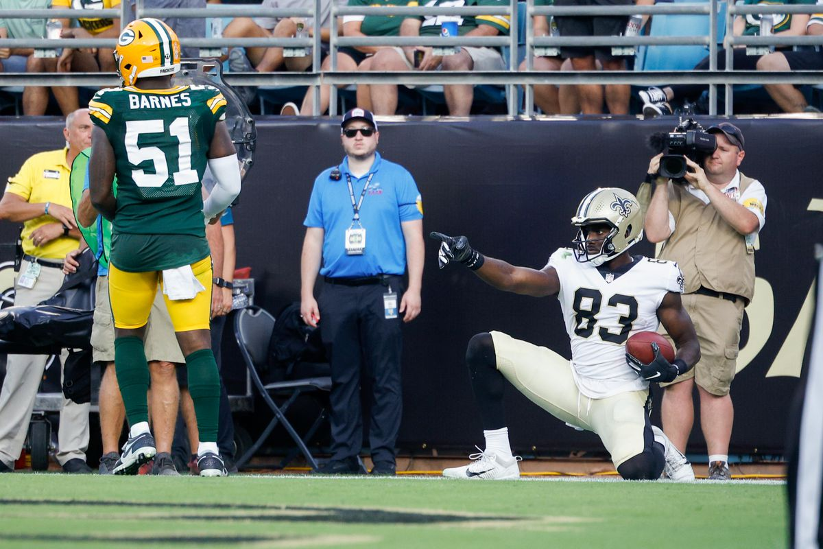 New Orleans Saints tight end Juwan Johnson (83) reacts after scoring a touchdown in the fourth quarter against the Green Bay Packers at TIAA Bank Field.