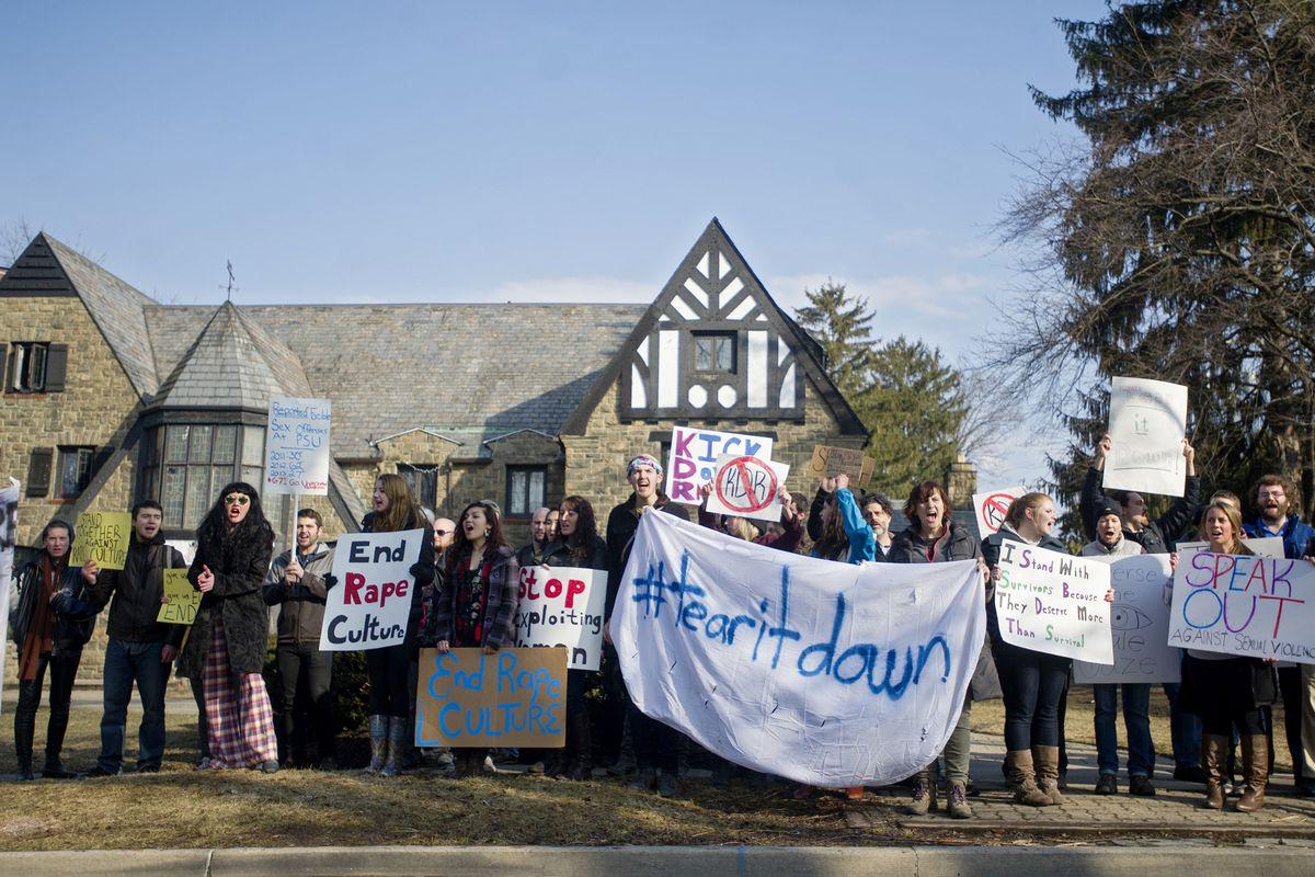 Protestors outside the Kappa Delta Rho house at Penn State.
