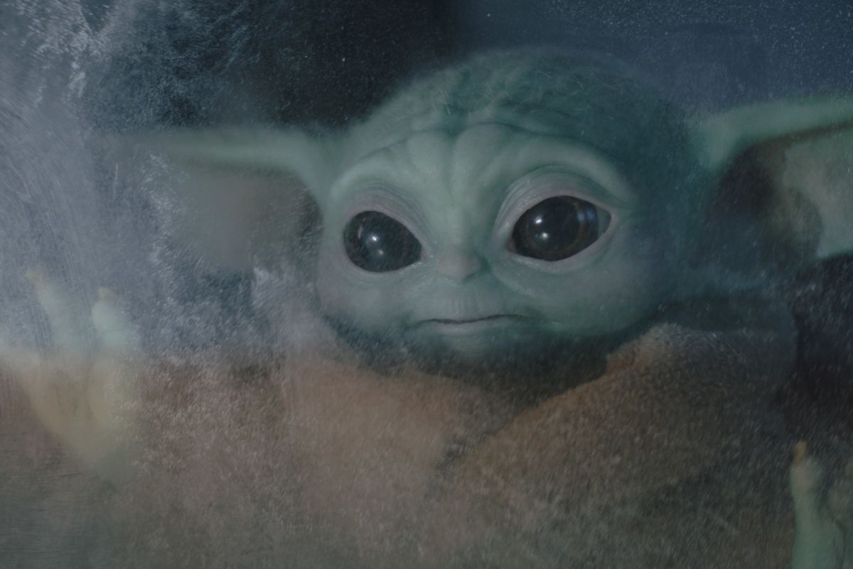 """A photo from """"The Mandalorian"""" episode 2 """"The Passenger"""" with Baby Yoda."""