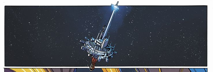 The Starlight Beacon, with its massive spire topped with a blinking light, hangs in space, in Star Wars: The High Republic #1, Marvel Comics (2021).