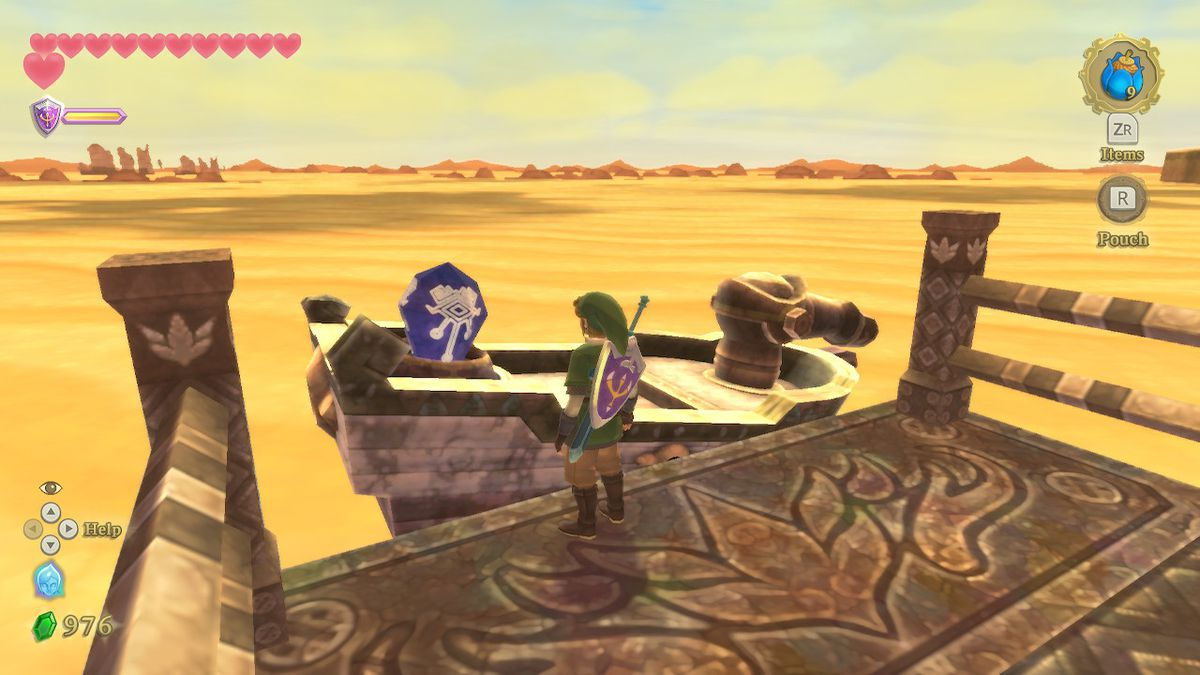 Link approaches a Timeshift Stone on the time boat