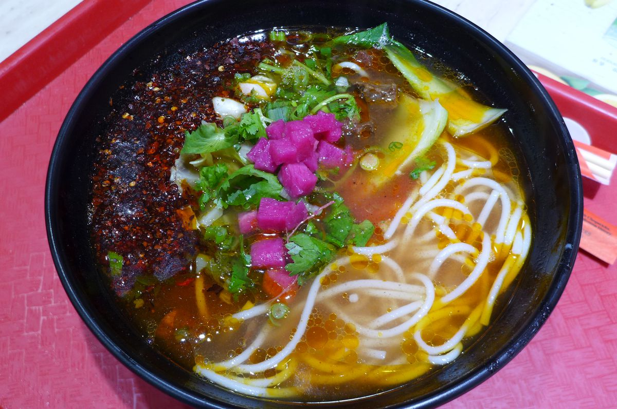 The Guizhou rice noodle soups are tart and spicy.