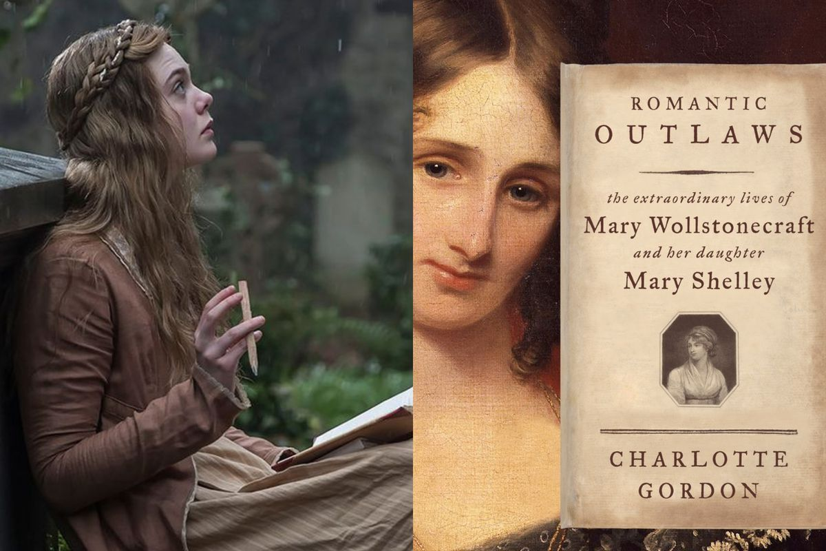 Elle Fanning in Mary Shelley and the cover of Charlotte Gordon's Romantic Outlaws
