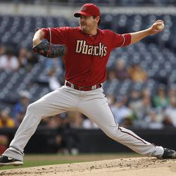Arizona Diamondbacks starting pitcher Joe Saunders works against the San Diego Padres in the first inning of a baseball game on Wednesday, April 11, 2012 in San Diego.