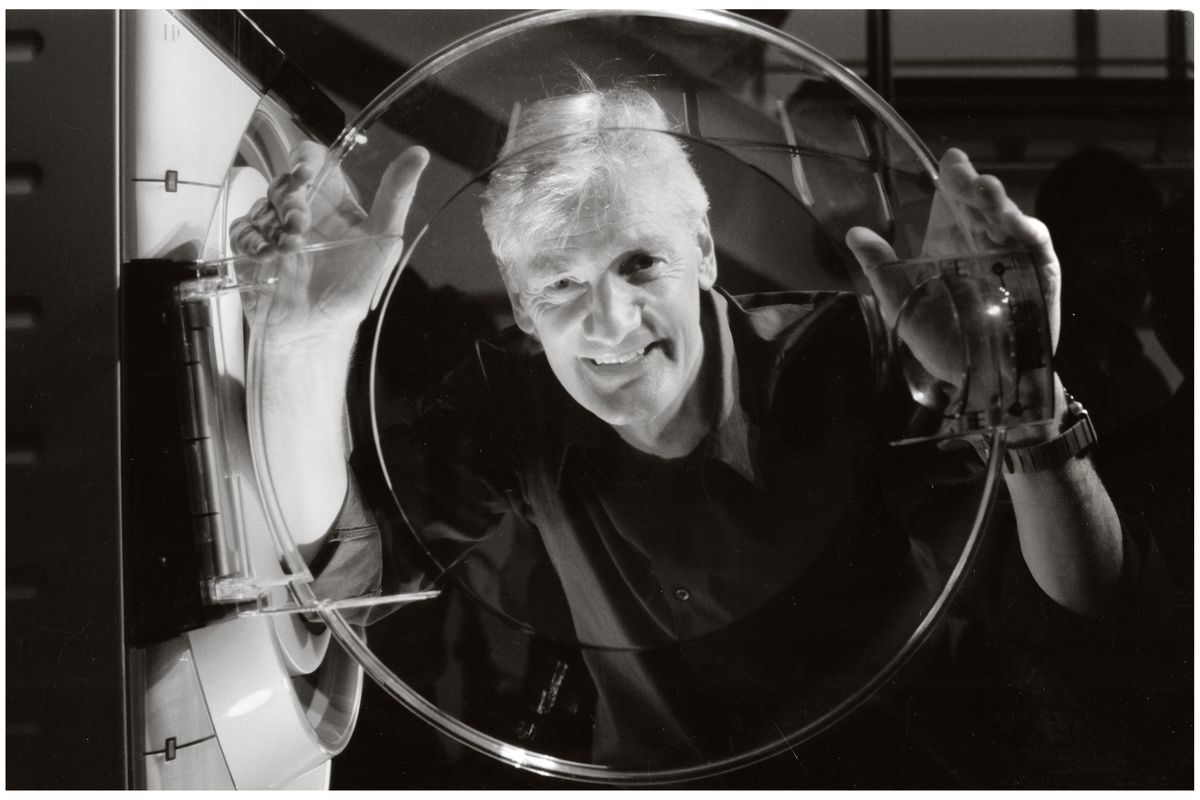 James Dyson with his Contrarotator washing machine.