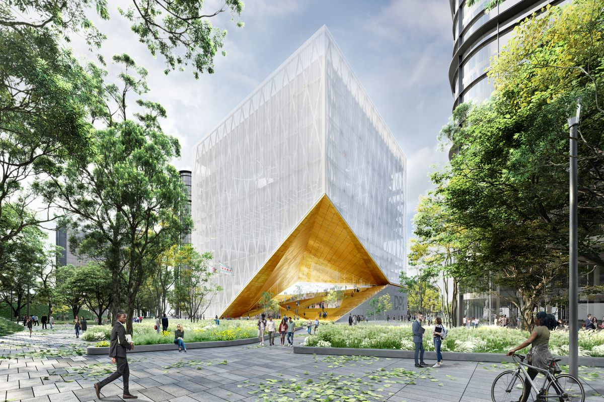A conceptual rendering of the University of Illinois' Discovery Partners Institute building at The 78.