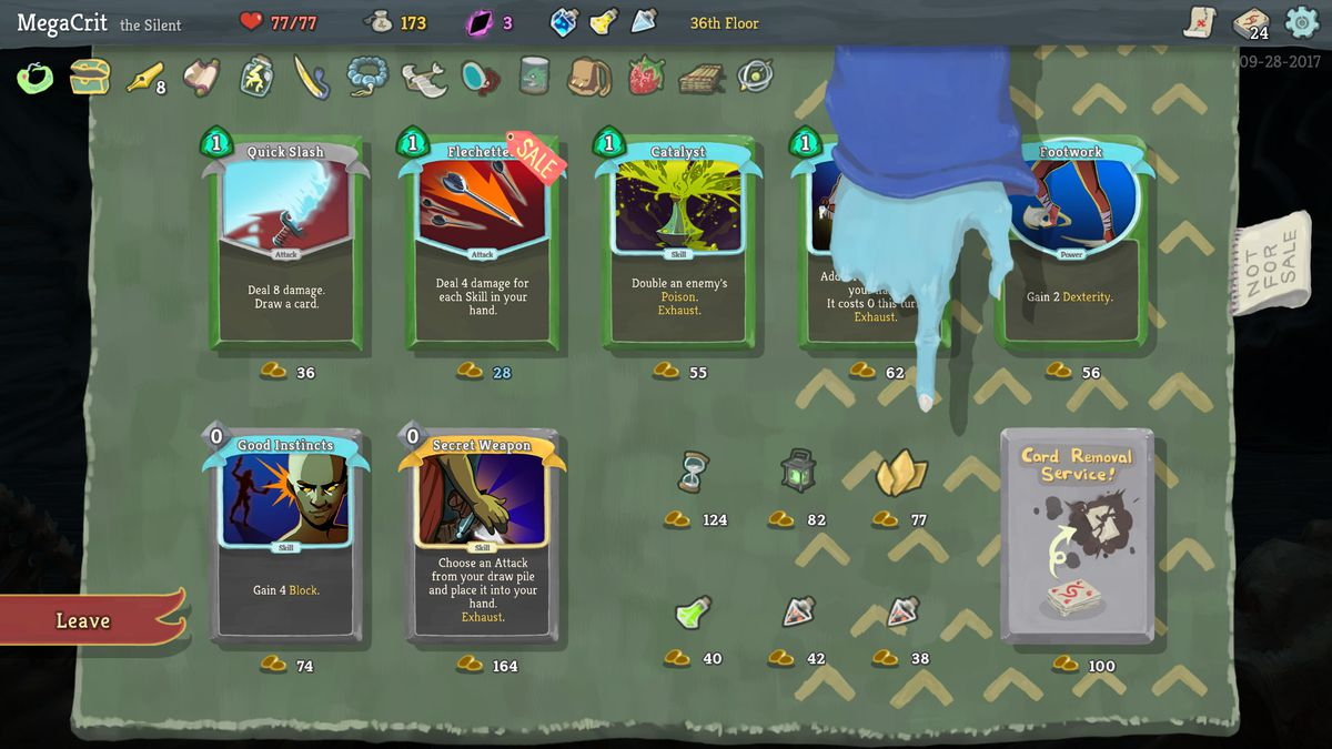 Slay the Spire - a shopkeeper showing off their wares