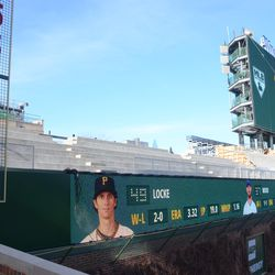 """5:08 p.m Left-field """"ribbon"""" video board now in its permanent home -"""