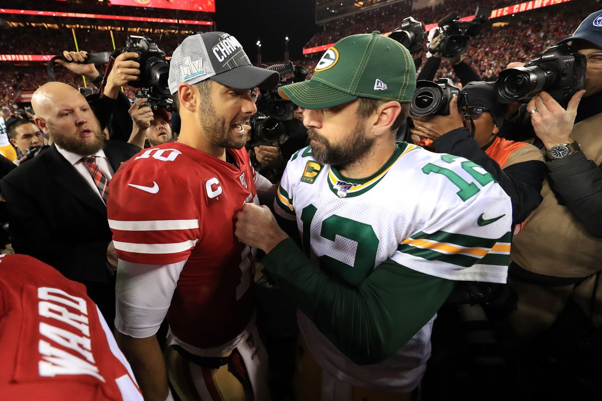 Jimmy Garoppolo #10 of the San Francisco 49ers shakes hands with Aaron Rodgers #12 of the Green Bay Packers after winning the NFC Championship game at Levi's Stadium on January 19, 2020 in Santa Clara, California.