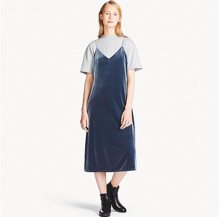 Uniqlo model in Velour Camisole Dress