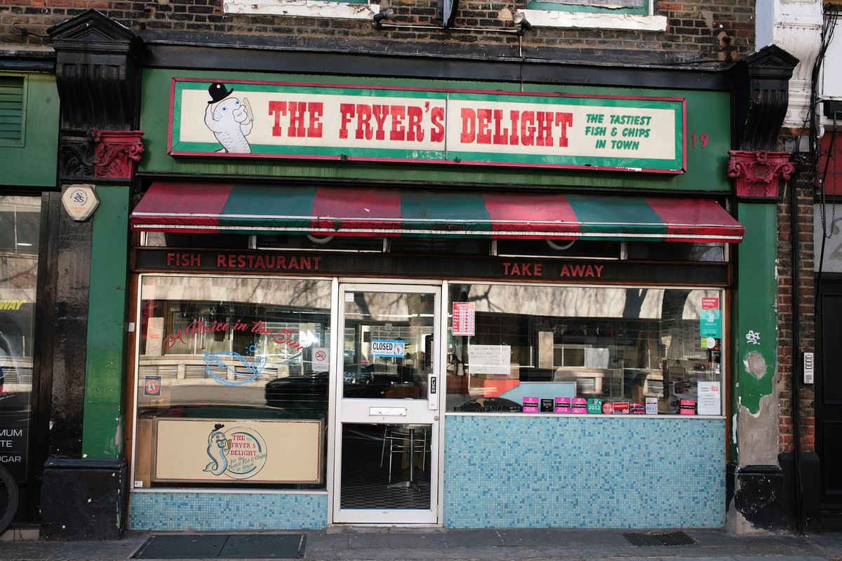 The Fryer's Delight in Holborn, one of London's best and most famous fish and chip shops