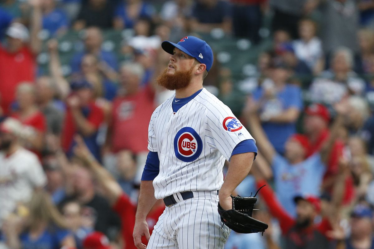 Cubs pitcher Craig Kimbrel after giving up a homer to the Cardinals' Paul DeJong in a loss in late September.