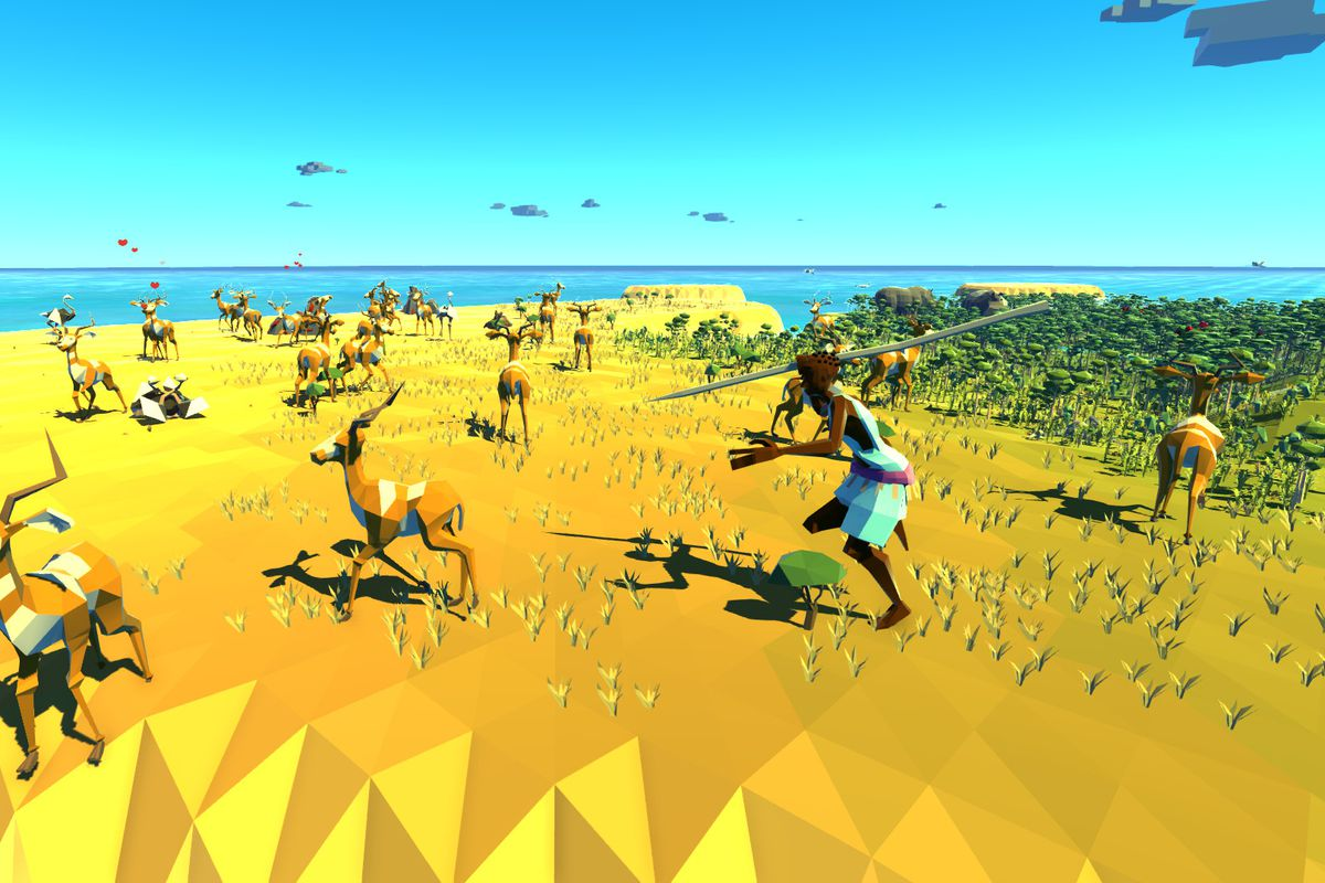 A follower hunts antelope in a screenshot from strategy game Crest.