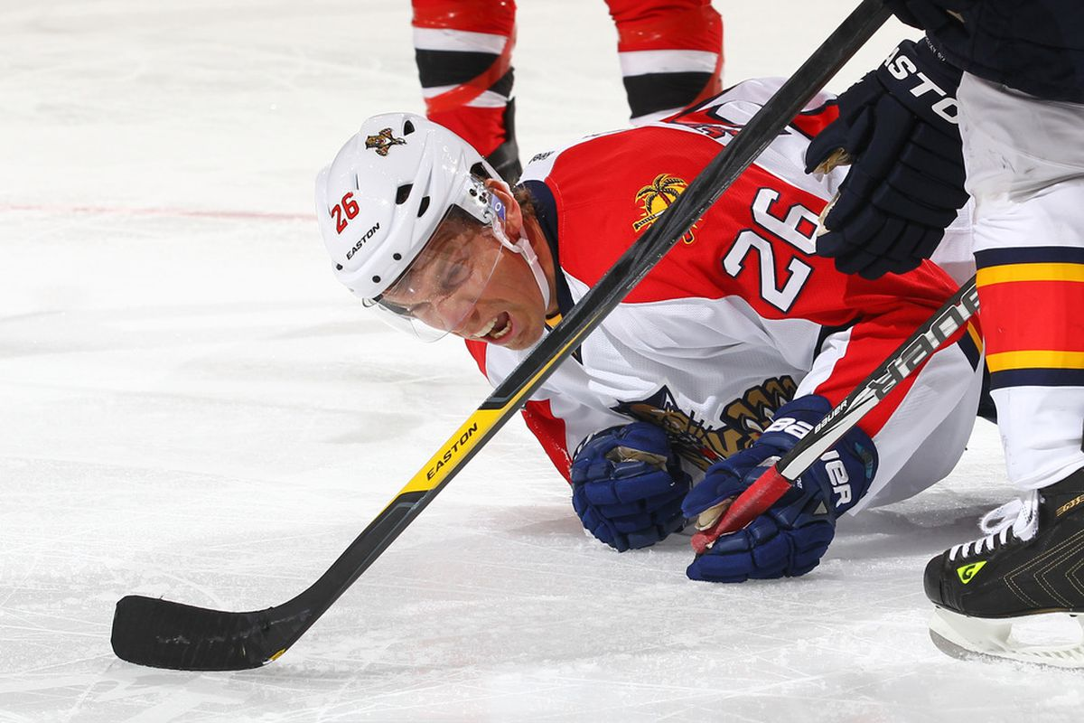NEWARK, NJ - JANUARY 06: Mikael Samuelsson #26 of the Florida Panthers reacts after scoring a goal  during their game against the New Jersey Devils on January 6, 2012 at The Prudential Center in Newark, New Jersey  (Photo by Al Bello/Getty Images)