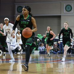 Utah Valley University Wolverines guard Mariah Seals (3) heads to the basket after stealing the ball from the Cal State Bakersfield Roadrunners in the 2017 WAC Tournament quarterfinals at Orleans Arena in Las Vegas on Wednesday, March 8, 2017.