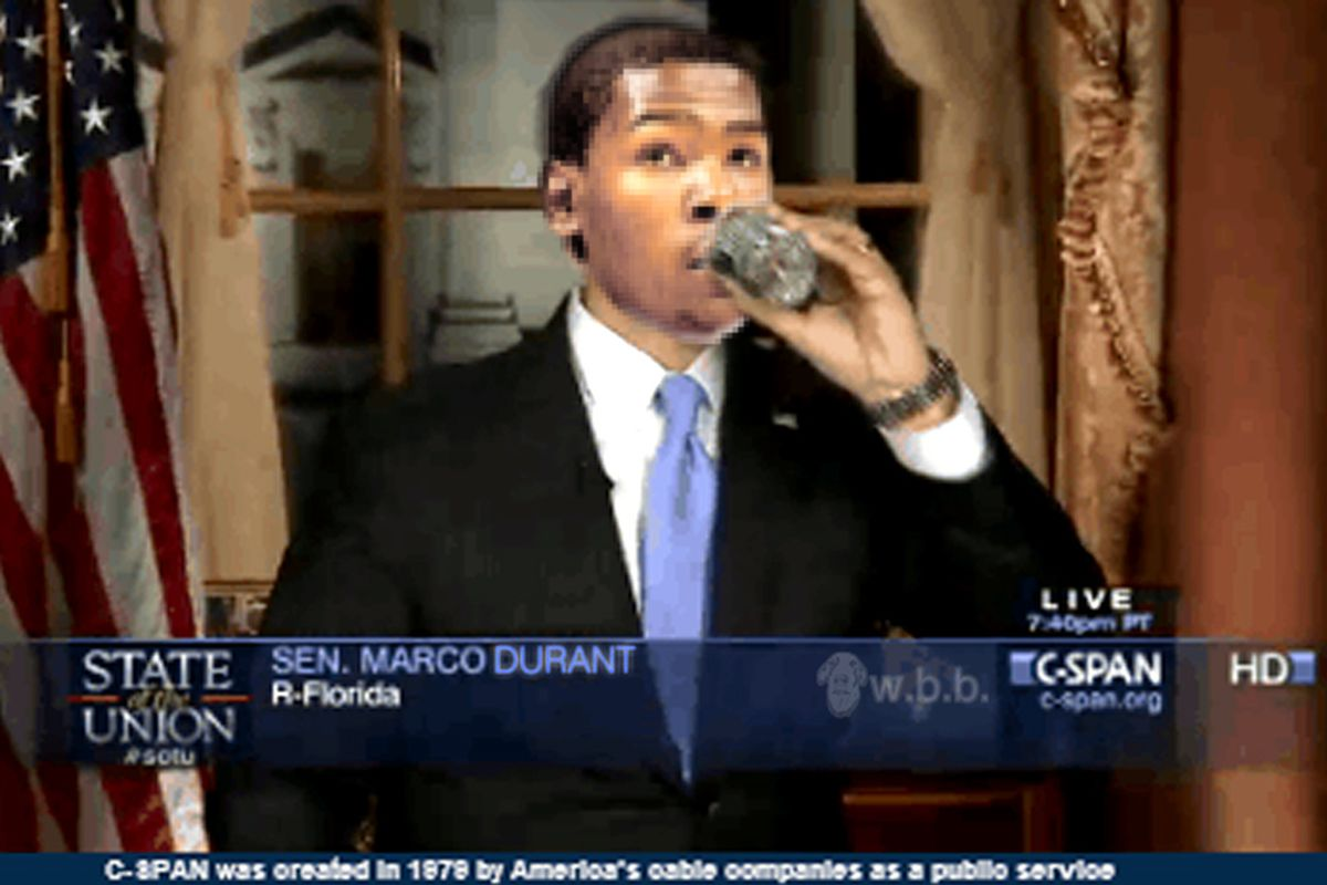 Maybe not the best time to pause and take a drink of water, KD