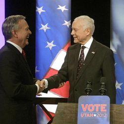 U.S. Senator Orrin Hatch, R-Utah, right, shakes hands with Democratic challenger Scott Howell before the start of the VoteUtah 2012 U.S. Senate debate Wednesday, Oct. 17, 2012, in Provo.