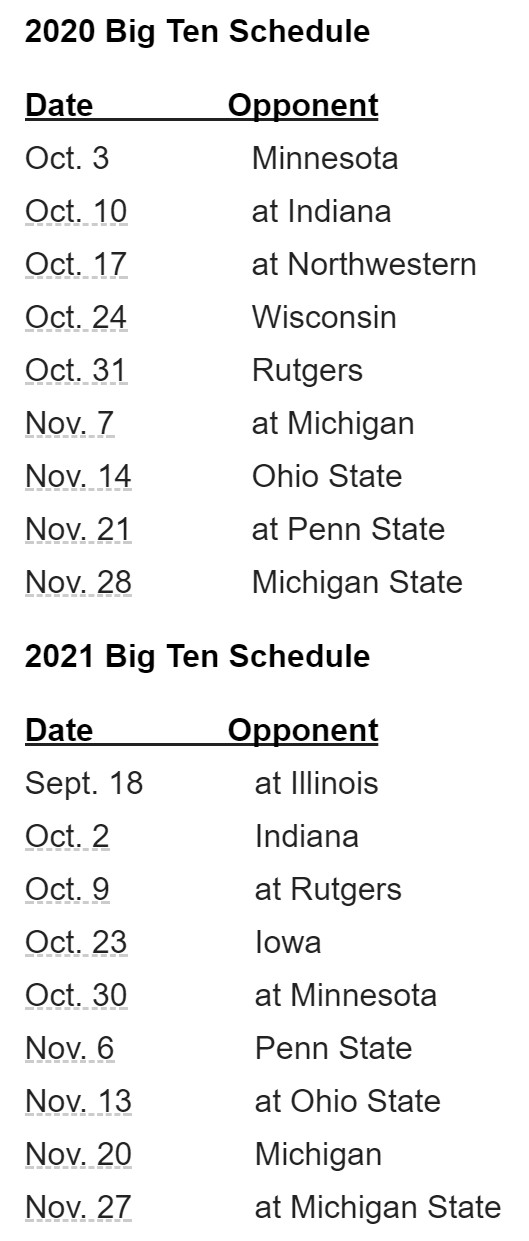 Ohio State Schedule 2020.Maryland S Big Ten Football Schedule For 2020 2021
