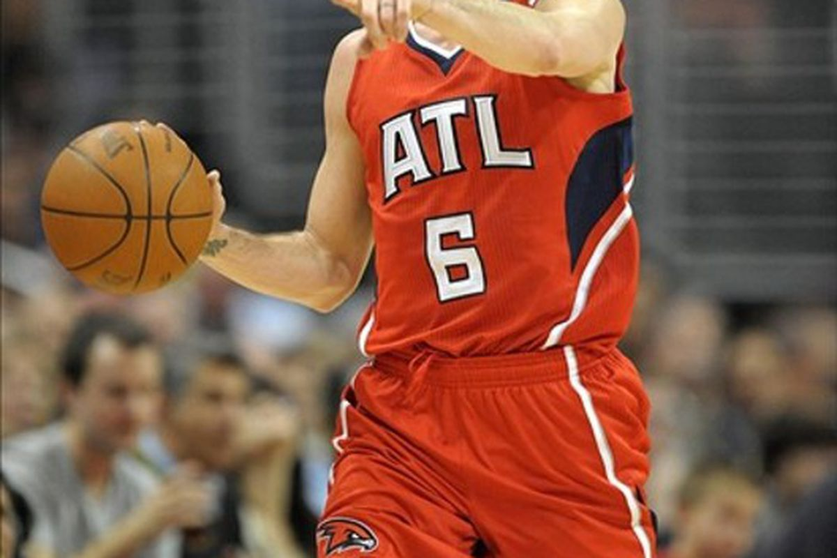Mar 14, 2012, Los Angeles, CA, USA; Atlanta Hawks guard Kirk Hinrich (6) dribbles the ball against the Los Angeles Clippers at the Staples Center. The Clippers defeated the Hawks 96-82. Mandatory Credit: Kirby Lee/Image of Sport-US PRESSWIRE