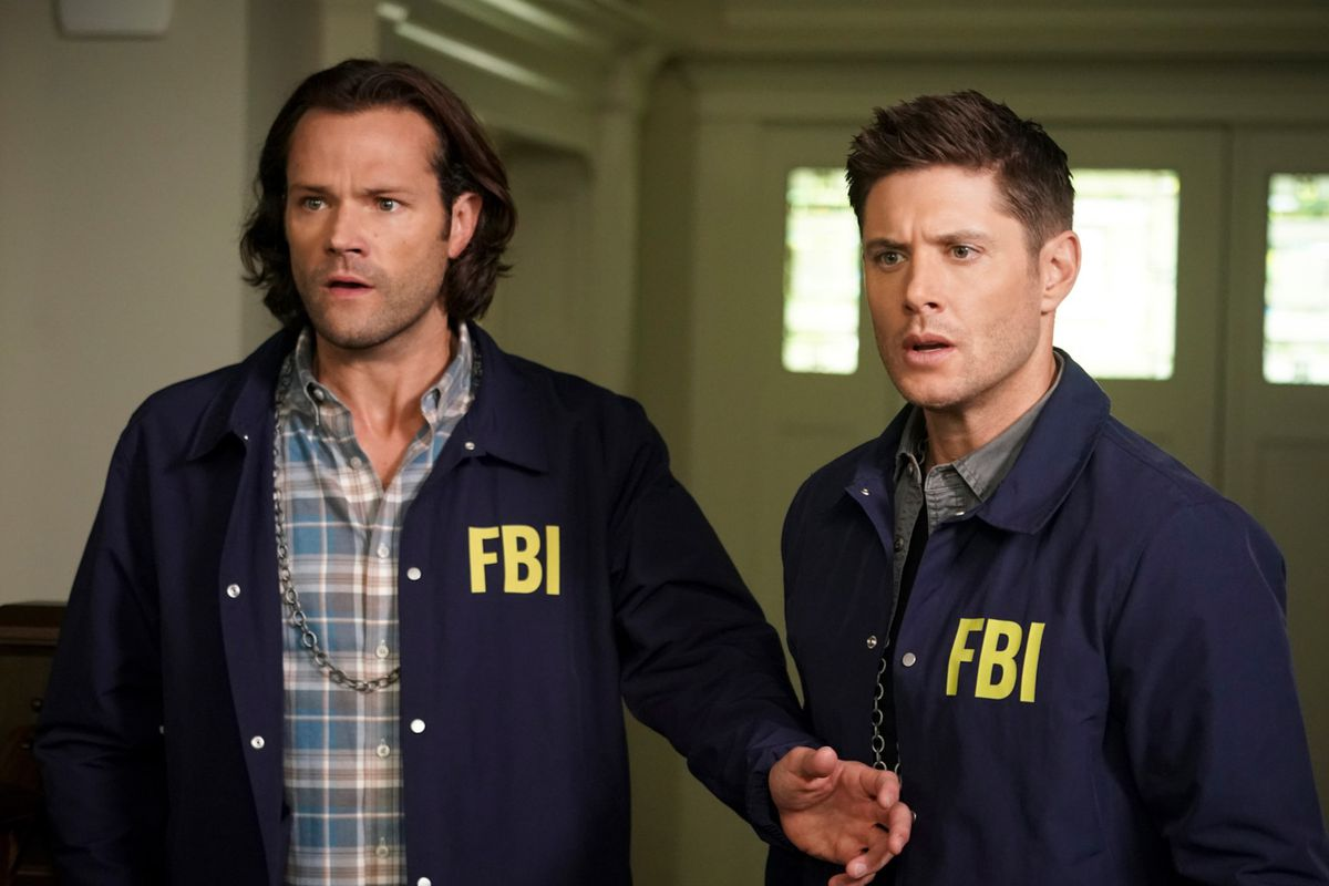 sam and dean winchester wearing FBI jackets