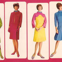 """Variations on Braniff's uniforms of the 60s. Photo via <a href-""""http://www.aviationexplorer.com/Vintage_Sexy_Stewardess_Flight_Attendant_Pictures/Stewardess_Girl_Pictures_AAF.jpg"""">AviationExplorer.com.</a>"""