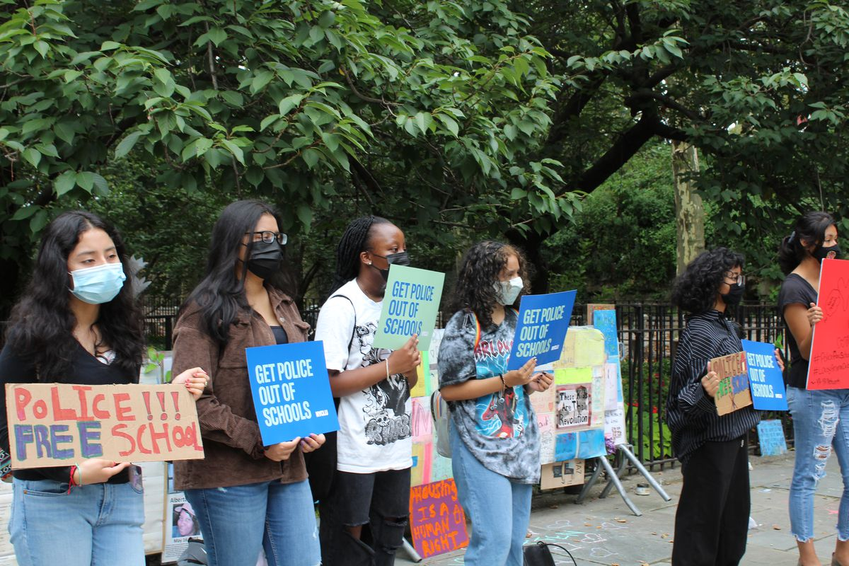 Students with the New York Civil Liberties Union's Teen Activist Project rally against over-policing in schools in front of Gracie Mansion on Aug. 17.