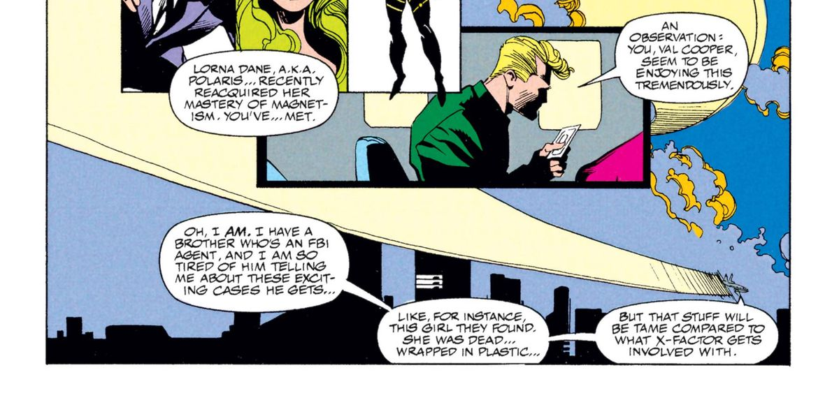 Valerie Cooper talking about her connection to Twin Peaks' Dale Cooper in X-Factor #71, Marvel Comics (1991).