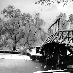 This winter photo of the bridge over the pond at Liberty Park appeared in the old Deseret News Magazine in the late 1940s.