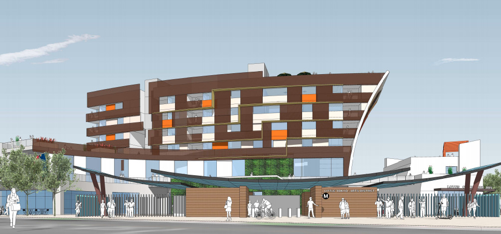 A rendering of a seven-story structure fronted by a Metro subway station portal.