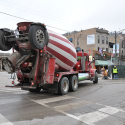 Cement truck at the corner of Waveland & Sheffield