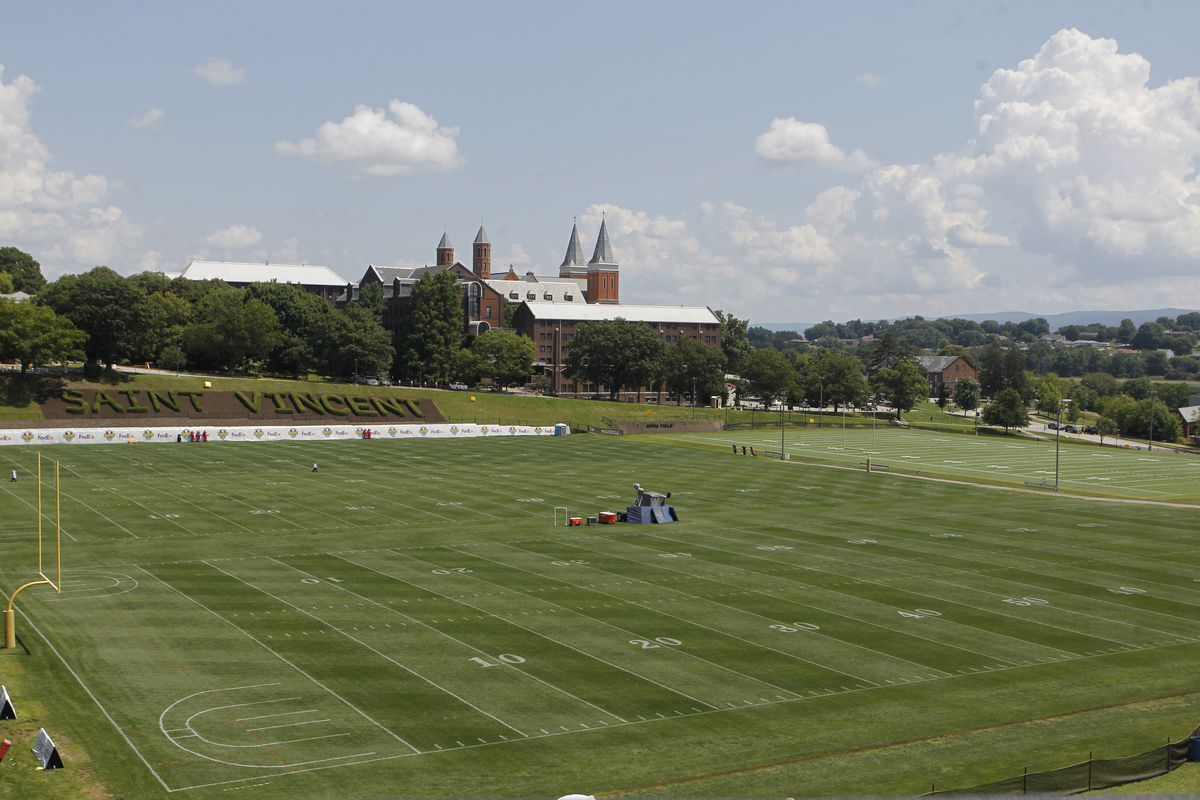 General view of the practice areas at Saint Vincent College before the Pittsburgh Steelers take the field for training camp.