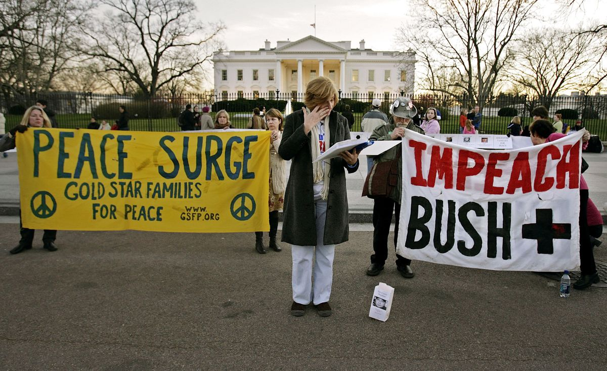 Antiwar protesters in front of the White House.