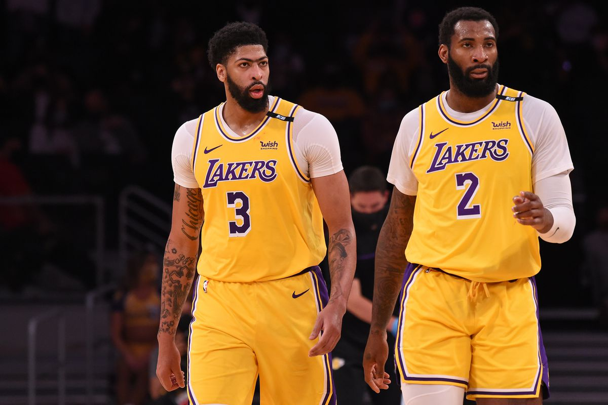 Anthony Davis and Andre Drummond of the Los Angeles Lakers looks on during the game against the Phoenix Suns during Round 1, Game 3 of the 2021 NBA Playoffs on May 27, 2021 at STAPLES Center in Los Angeles, California.