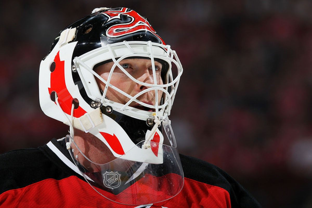 NEWARK, NJ - APRIL 11: Goalkeeper Martin Brodeur #30 of the New Jersey Devils looks on against the Buffalo Sabres at the Prudential Center on April 11, 2010 in Newark, New Jersey.  (Photo by Chris McGrath/Getty Images)