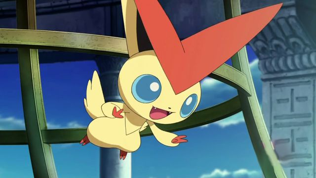 Victini floats in the air happily