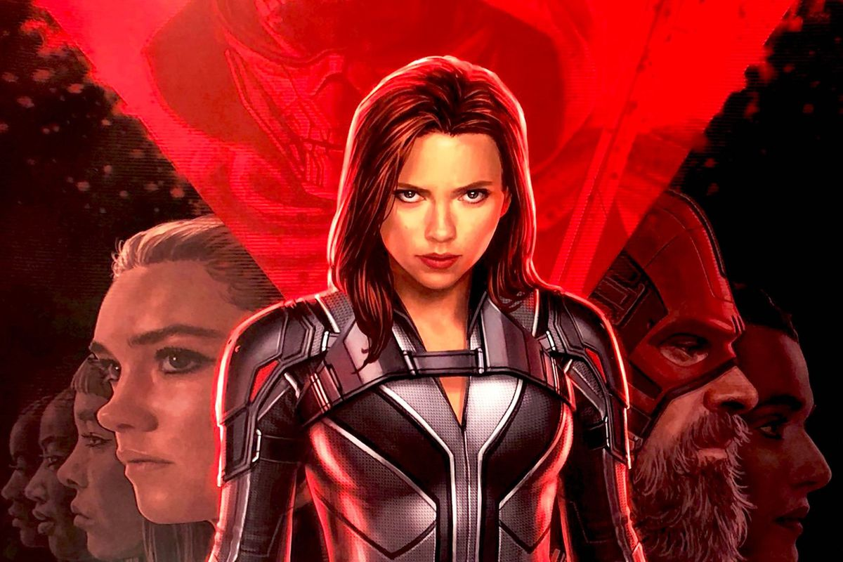 The cast of Black Widow on the poster for the 2020 film.