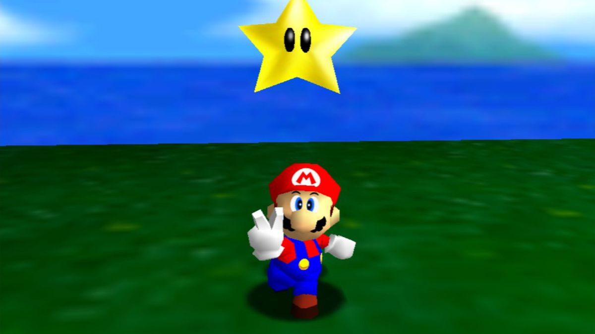 Mario gives the peace sign under a star