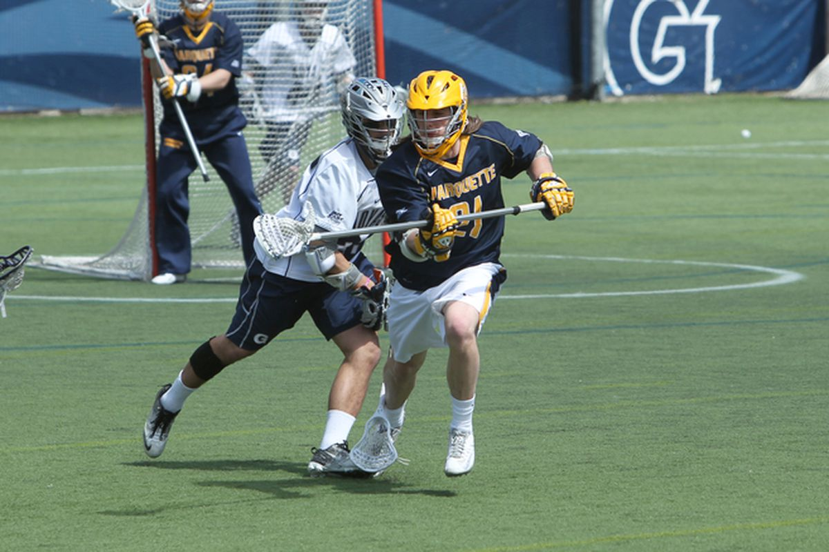 Liam Byrnes, playing some hard nosed D against Georgetown.