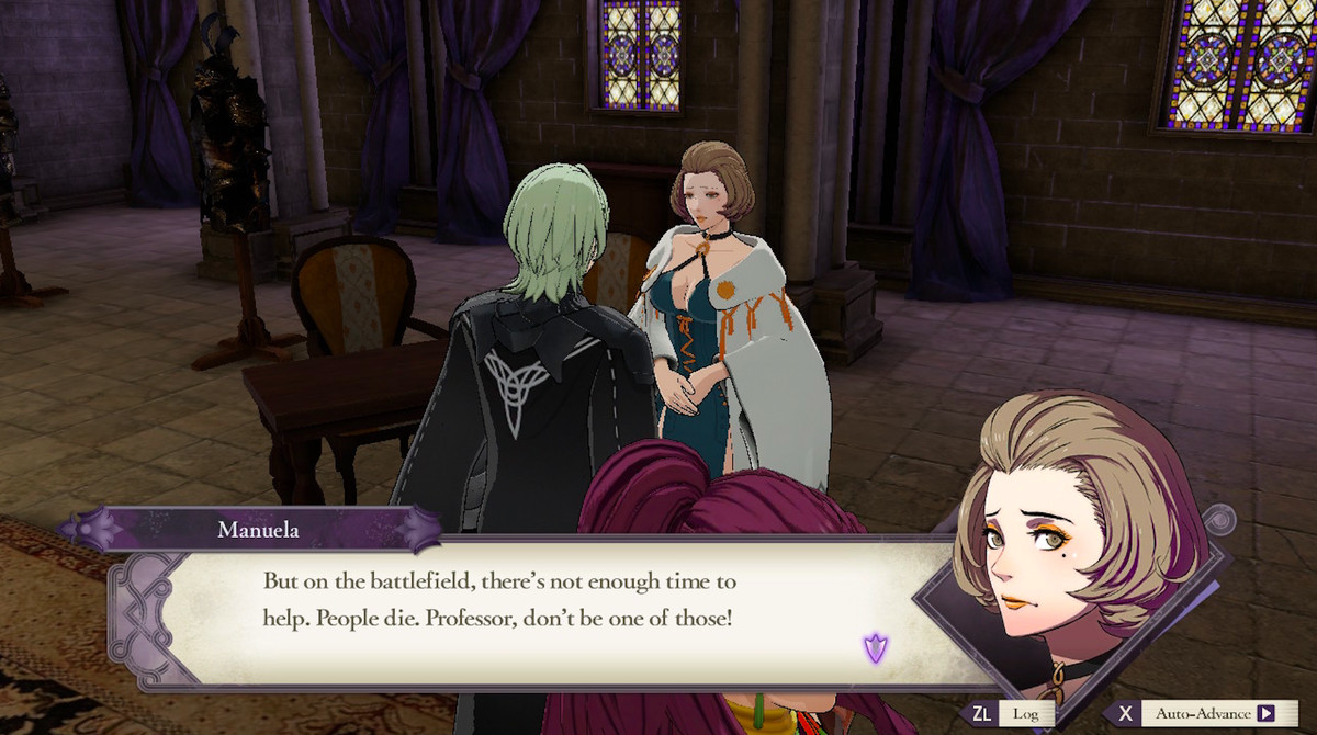 """Manuela telling the main character, """"But on the battlefield, there's not enough time to help. People die. Professor, don't be one of those!"""" in Fire Emblem: Three Houses"""