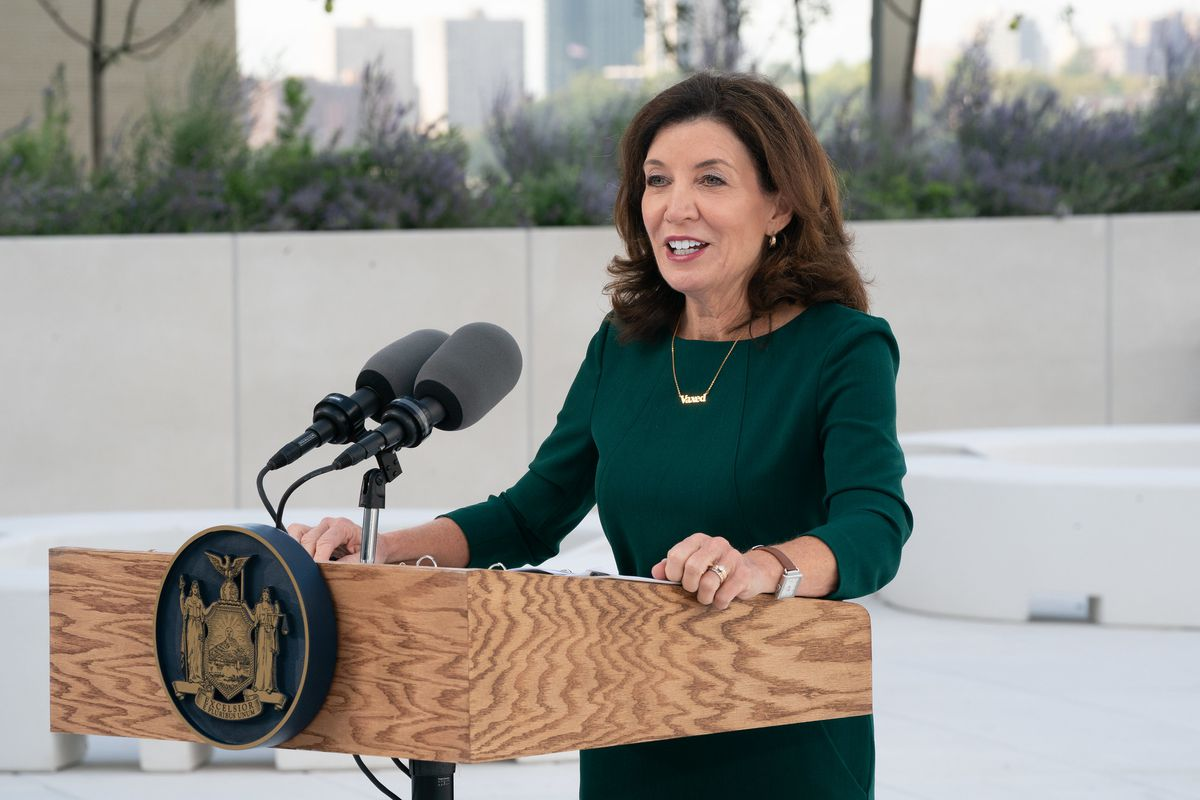 Gov. Kathy Hochul speaks at a Climate Week event on the roof of the Javits Center, Sept. 21, 2021